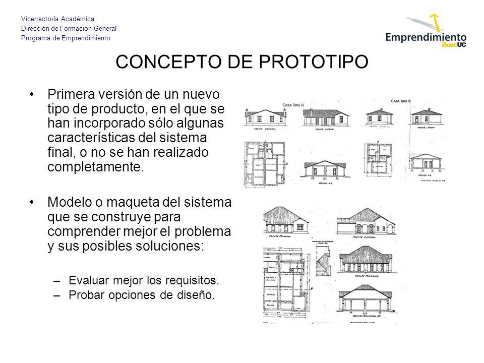 Vicerrectoría Académica Dirección de Formación General Programa de Emprendimiento CONCEPTO DE PROTOTIPO Primera versión de un nuevo tipo de producto,