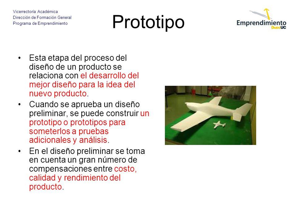 Vicerrectoría Académica Dirección de Formación General Programa de Emprendimiento Prototipo Esta etapa del proceso del diseño de un producto se relaci