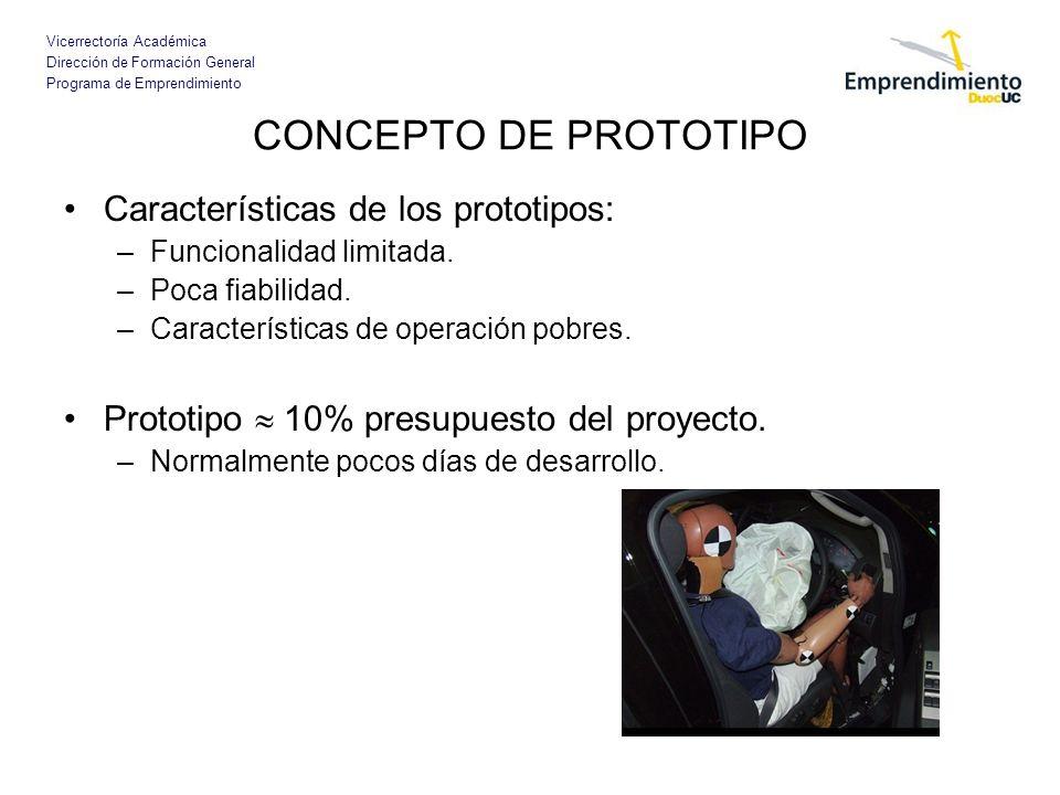 Vicerrectoría Académica Dirección de Formación General Programa de Emprendimiento CONCEPTO DE PROTOTIPO Características de los prototipos: –Funcionali
