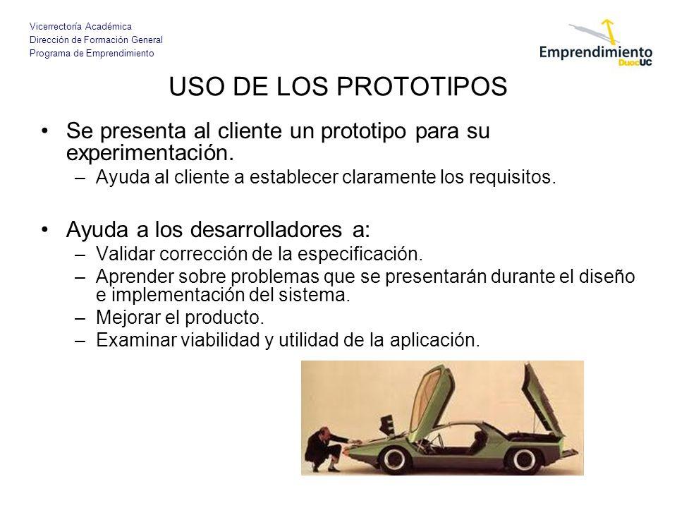 Vicerrectoría Académica Dirección de Formación General Programa de Emprendimiento USO DE LOS PROTOTIPOS Se presenta al cliente un prototipo para su ex
