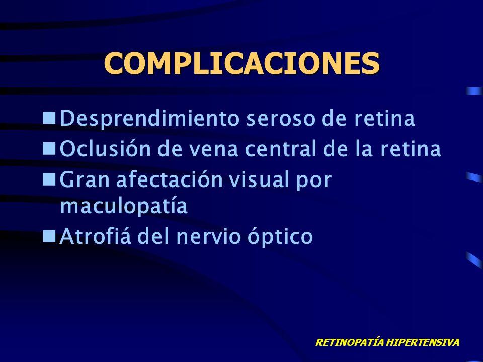 RETINOPATÍA HIPERTENSIVA ESTADIO IV Papiledema Hemorragias en llama (peripapilares) Exudados duros (circinada macular) Exudados algodonosos