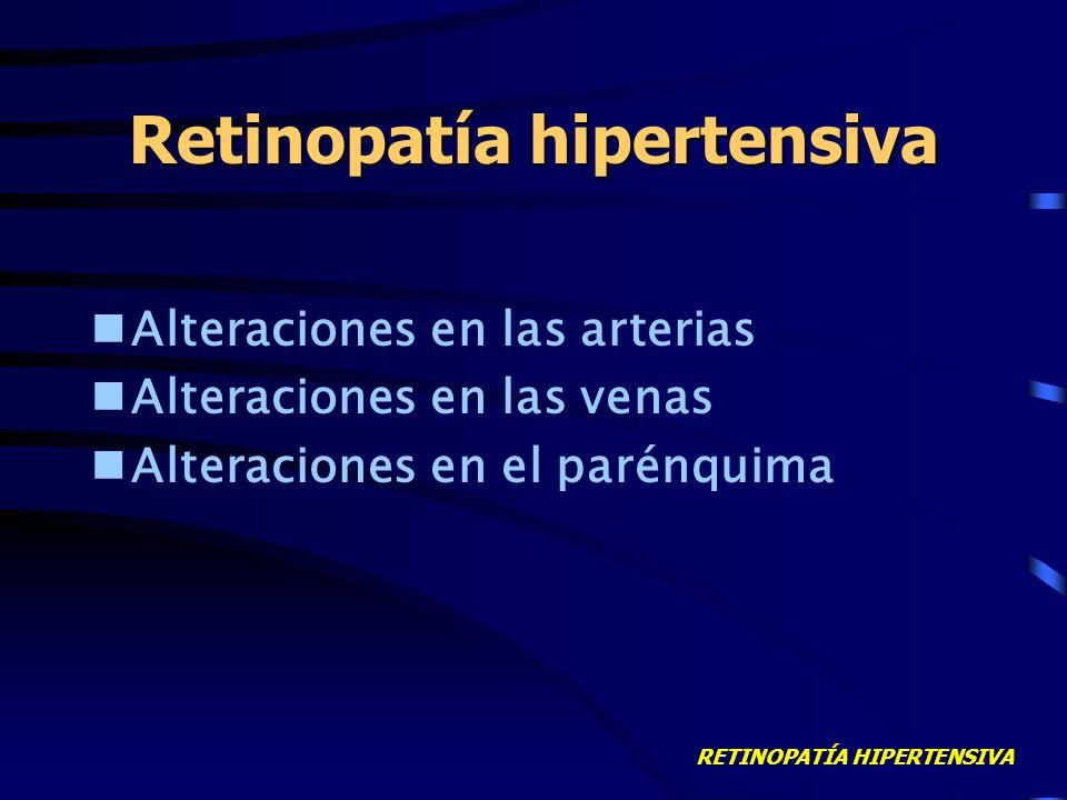 RETINOPATÍA HIPERTENSIVA DEFINICIÓN Alteraciones retinianas secundarias a HTA Dependientes de: –Duración –Nivel –Estado previo de vasos retinianos –Ra