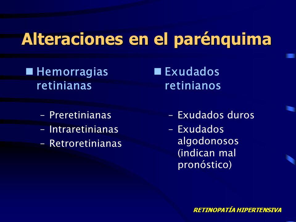 RETINOPATÍA HIPERTENSIVA Alteraciones en el parénquima Hemorragias retinianas –Preretinianas –Intraretinianas –Retroretinianas Exudados retinianos –Exudados duros –Exudados algodonosos (indican mal pronóstico)