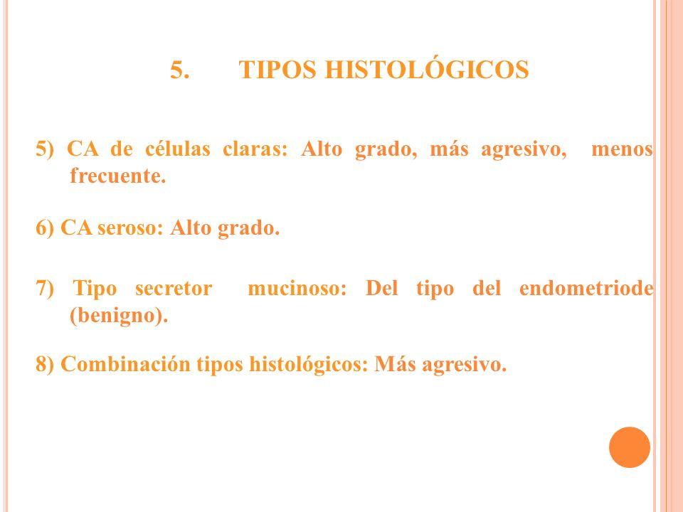 5) CA de células claras: Alto grado, más agresivo, menos frecuente. 6) CA seroso: Alto grado. 7) Tipo secretor mucinoso: Del tipo del endometriode (be