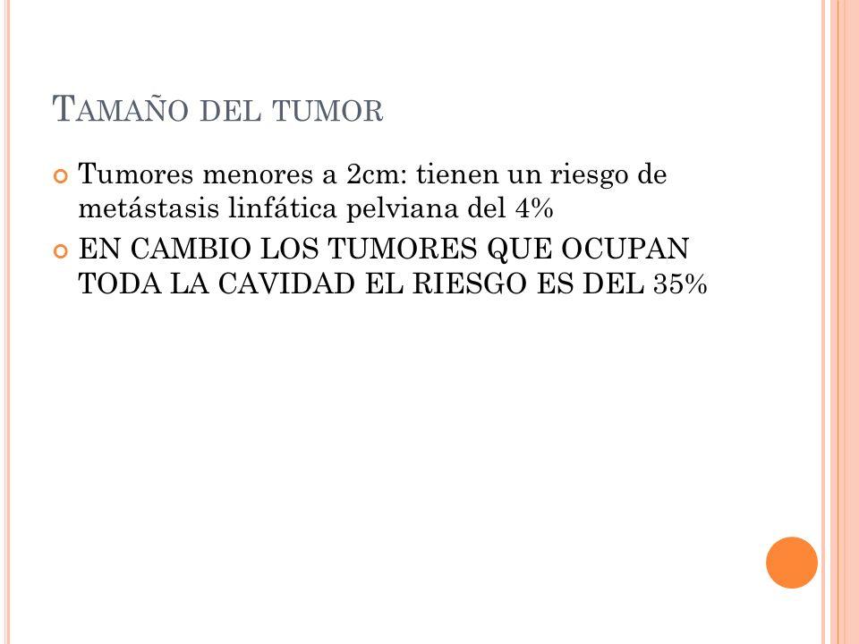 T AMAÑO DEL TUMOR Tumores menores a 2cm: tienen un riesgo de metástasis linfática pelviana del 4% EN CAMBIO LOS TUMORES QUE OCUPAN TODA LA CAVIDAD EL