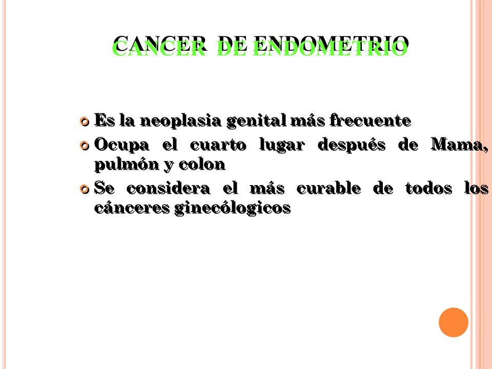 FACTORES DE RIESGO Tabaco, obesidad, HTA, DM Menopausia tardía Menarquia temprana Uso de estrógenos exógenos, sin oposición P Diabetes e hipertensión A.