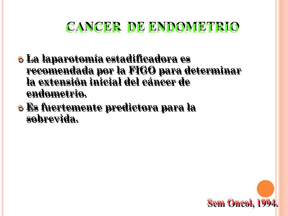 La laparotomía estadificadora es recomendada por la FIGO para determinar la extensión inicial del cáncer de endometrio. Es fuertemente predictora para