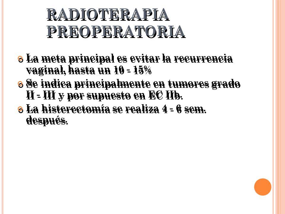 RADIOTERAPIA PREOPERATORIA La meta principal es evitar la recurrencia vaginal, hasta un 10 - 15% Se indica principalmente en tumores grado II - III y