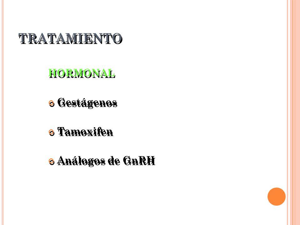 TRATAMIENTO HORMONAL Gestágenos Tamoxifen Análogos de GnRH HORMONAL Gestágenos Tamoxifen Análogos de GnRH