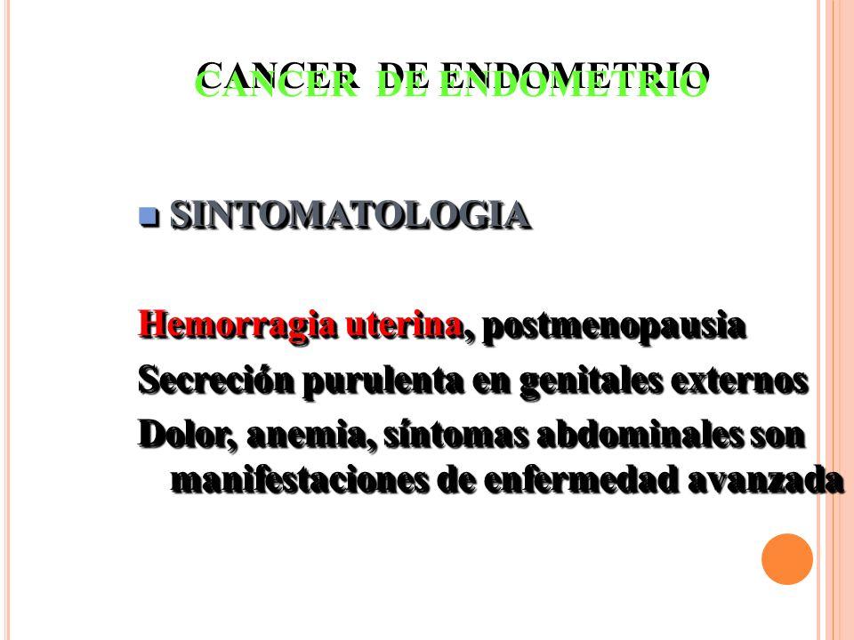 n SINTOMATOLOGIA Hemorragia uterina, postmenopausia Secreción purulenta en genitales externos Dolor, anemia, síntomas abdominales son manifestaciones