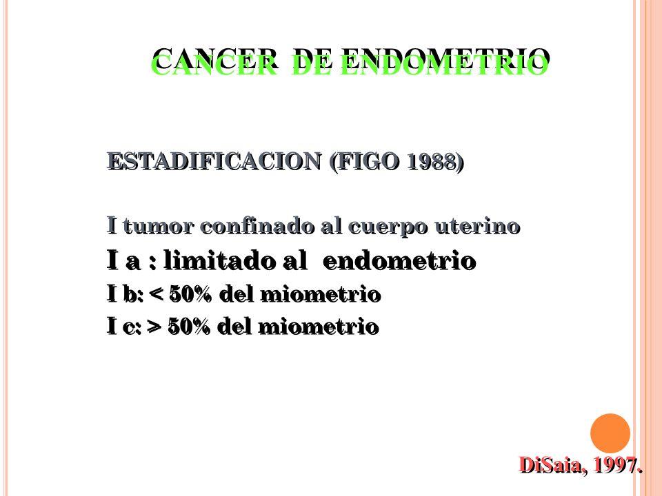 ESTADIFICACION (FIGO 1988) I tumor confinado al cuerpo uterino I a : limitado al endometrio I b: < 50% del miometrio I c: > 50% del miometrio ESTADIFI