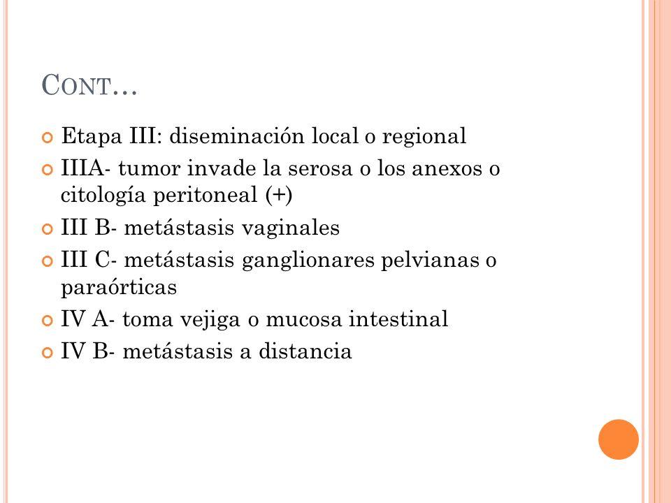 C ONT … Etapa III: diseminación local o regional IIIA- tumor invade la serosa o los anexos o citología peritoneal (+) III B- metástasis vaginales III