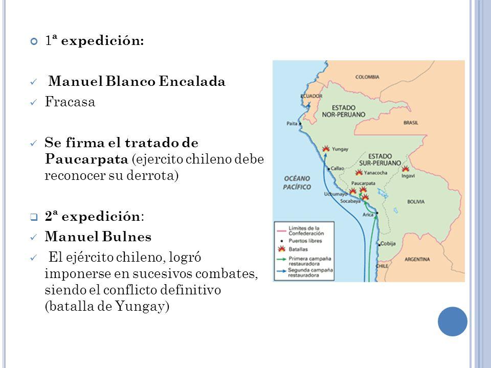 1 ª expedición: Manuel Blanco Encalada Fracasa Se firma el tratado de Paucarpata (ejercito chileno debe reconocer su derrota) 2ª expedición : Manuel B