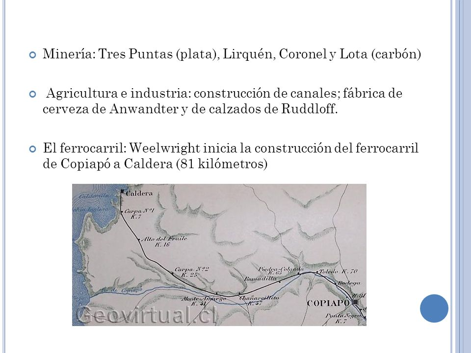 Minería: Tres Puntas (plata), Lirquén, Coronel y Lota (carbón) Agricultura e industria: construcción de canales; fábrica de cerveza de Anwandter y de