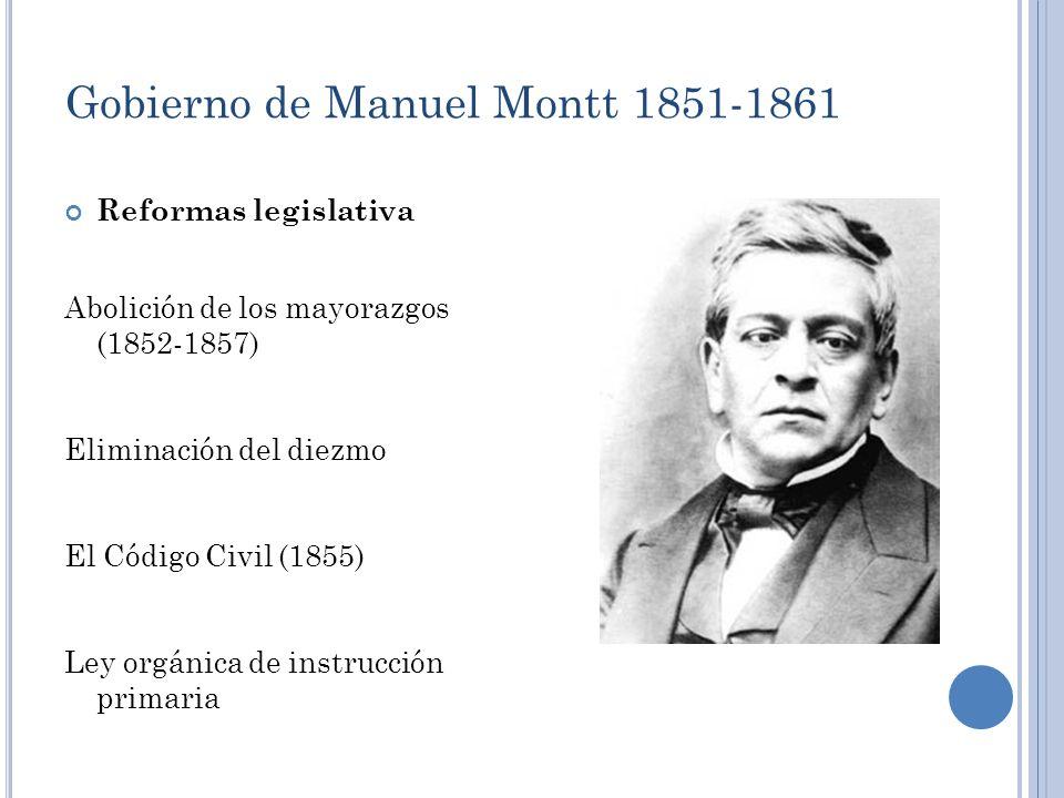 Gobierno de Manuel Montt 1851-1861 Reformas legislativa Abolición de los mayorazgos (1852-1857) Eliminación del diezmo El Código Civil (1855) Ley orgá