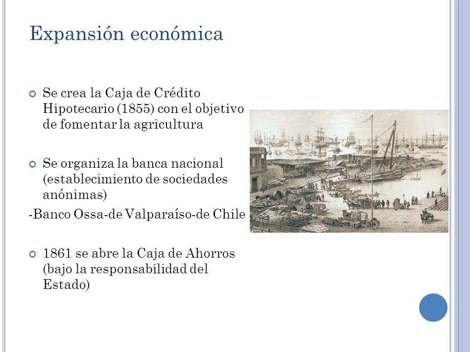 Expansión económica Se crea la Caja de Crédito Hipotecario (1855) con el objetivo de fomentar la agricultura Se organiza la banca nacional (establecim