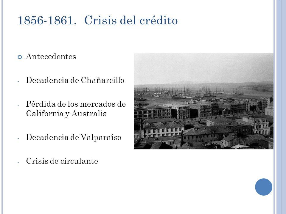 1856-1861. Crisis del crédito Antecedentes - Decadencia de Chañarcillo - Pérdida de los mercados de California y Australia - Decadencia de Valparaíso