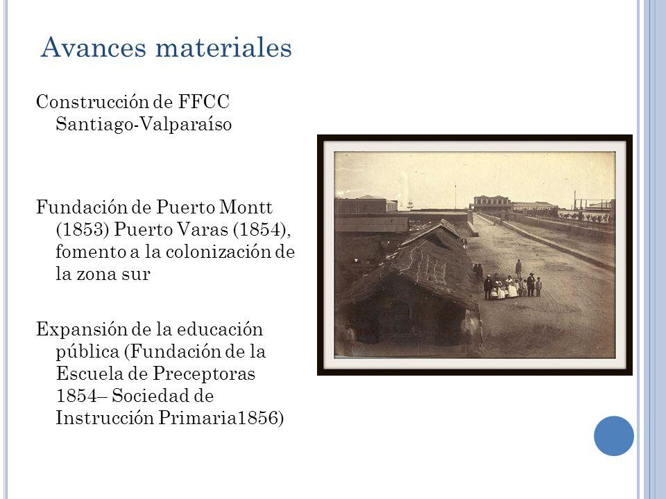 Avances materiales Construcción de FFCC Santiago-Valparaíso Fundación de Puerto Montt (1853) Puerto Varas (1854), fomento a la colonización de la zona