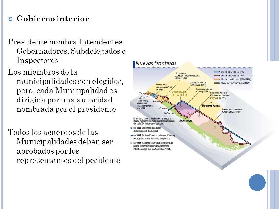 Gobierno interior Presidente nombra Intendentes, Gobernadores, Subdelegados e Inspectores Los miembros de la municipalidades son elegidos, pero, cada
