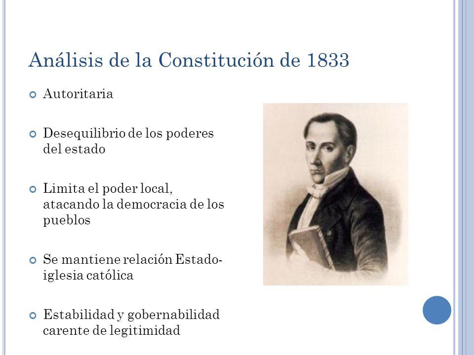 Análisis de la Constitución de 1833 Autoritaria Desequilibrio de los poderes del estado Limita el poder local, atacando la democracia de los pueblos S