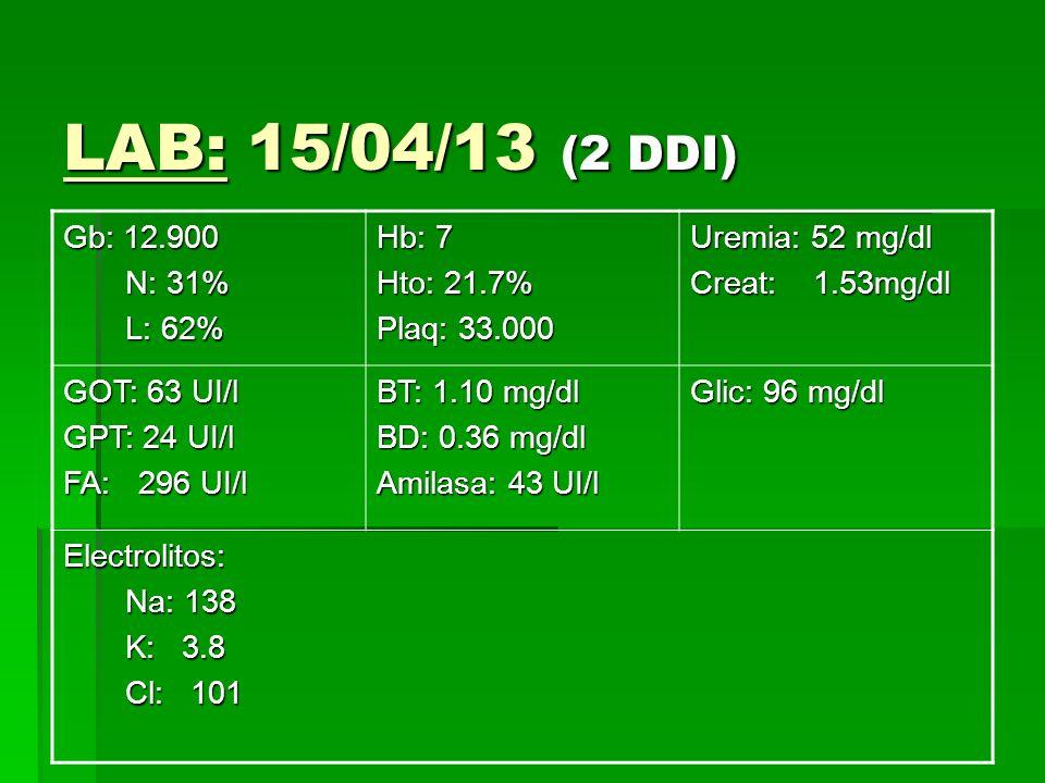 LAB: 15/04/13 (2 DDI) Gb: 12.900 N: 31% N: 31% L: 62% L: 62% Hb: 7 Hto: 21.7% Plaq: 33.000 Uremia: 52 mg/dl Creat: 1.53mg/dl GOT: 63 UI/l GPT: 24 UI/l