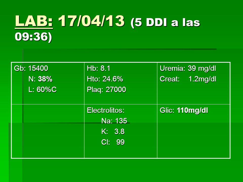 LAB: 17/04/13 (5 DDI a las 09:36) Gb: 15400 N: 38% N: 38% L: 60%C L: 60%C Hb: 8.1 Hto: 24.6% Plaq: 27000 Uremia: 39 mg/dl Creat: 1.2mg/dl Electrolitos