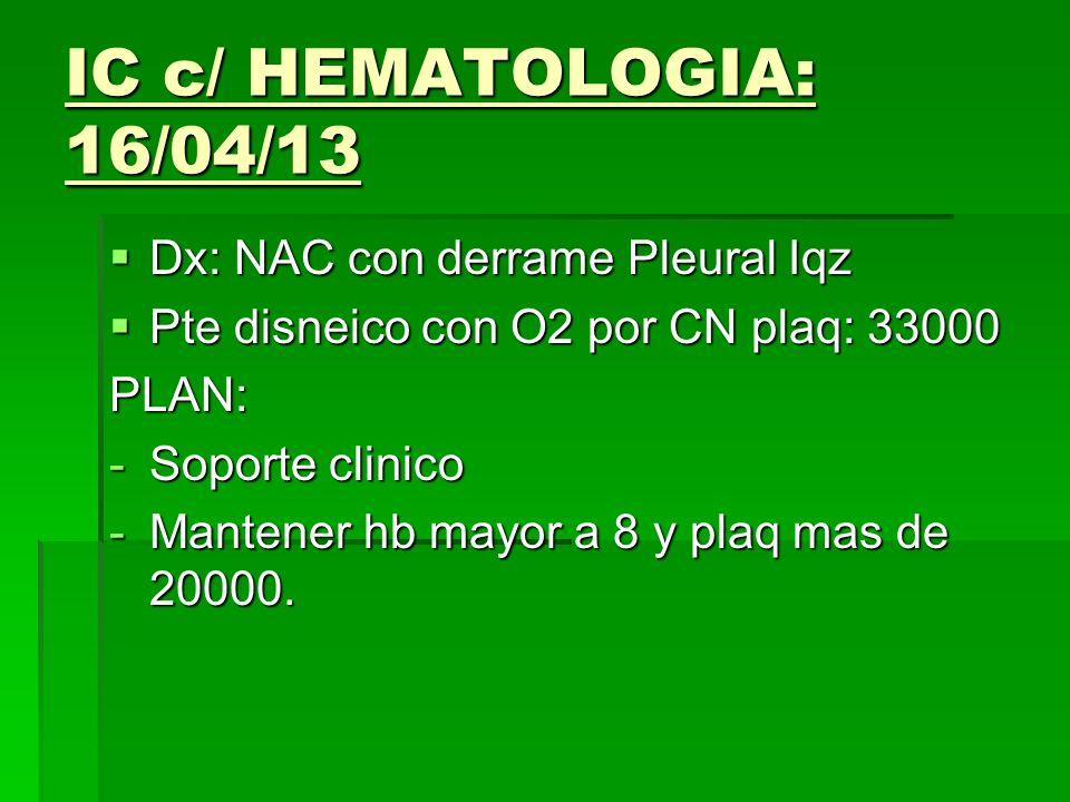 IC c/ HEMATOLOGIA: 16/04/13 Dx: NAC con derrame Pleural Iqz Dx: NAC con derrame Pleural Iqz Pte disneico con O2 por CN plaq: 33000 Pte disneico con O2