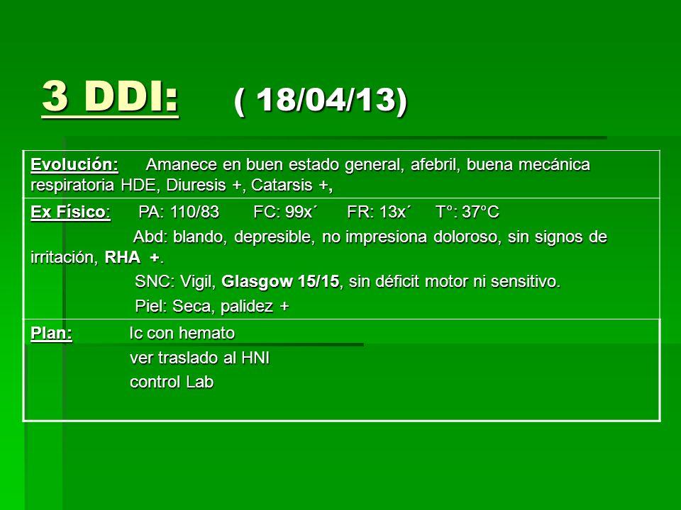 3 DDI: ( 18/04/13) Evolución: Amanece en buen estado general, afebril, buena mecánica respiratoria HDE, Diuresis +, Catarsis +, Ex Físico: PA: 110/83