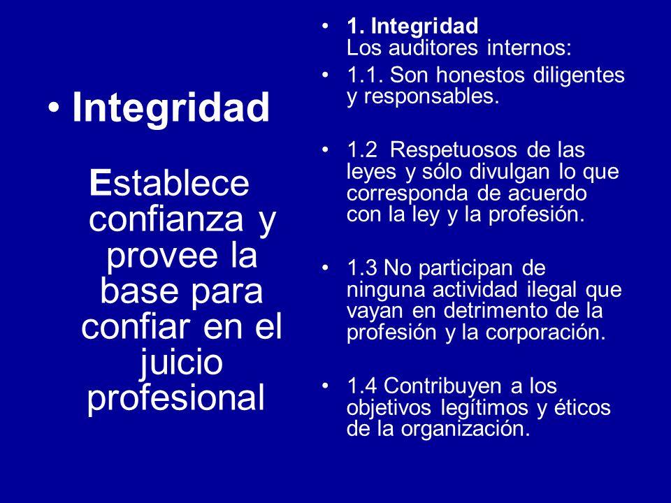 Integridad Establece confianza y provee la base para confiar en el juicio profesional 1. Integridad Los auditores internos: 1.1. Son honestos diligent