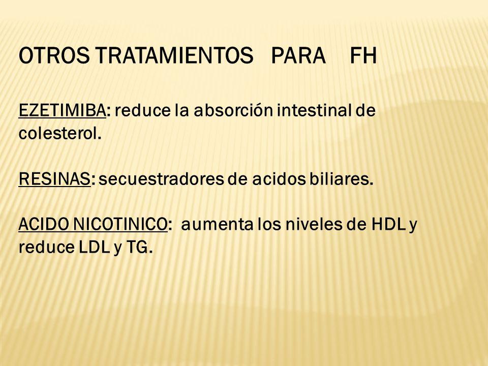 OTROS TRATAMIENTOS PARA FH EZETIMIBA: reduce la absorción intestinal de colesterol. RESINAS: secuestradores de acidos biliares. ACIDO NICOTINICO: aume
