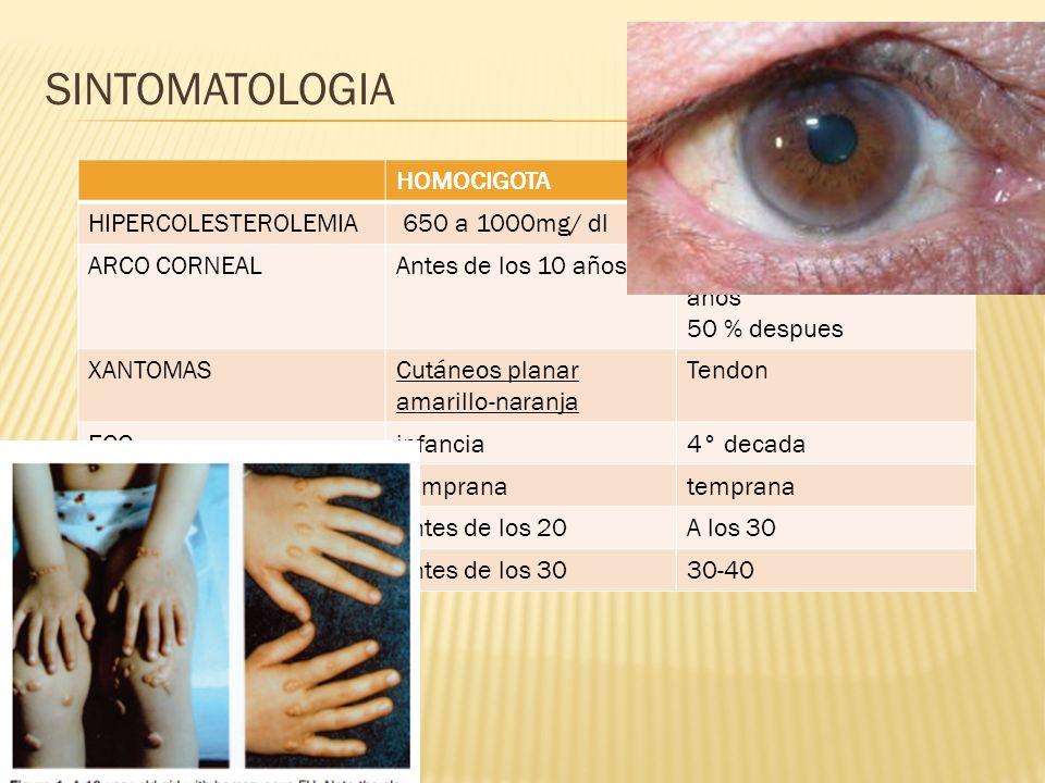 SINTOMATOLOGIA HOMOCIGOTAHETEROCIGOTA HIPERCOLESTEROLEMIA 650 a 1000mg/ dl350 a 550 mg/dl ARCO CORNEALAntes de los 10 años10% Antes de los 30 años 50