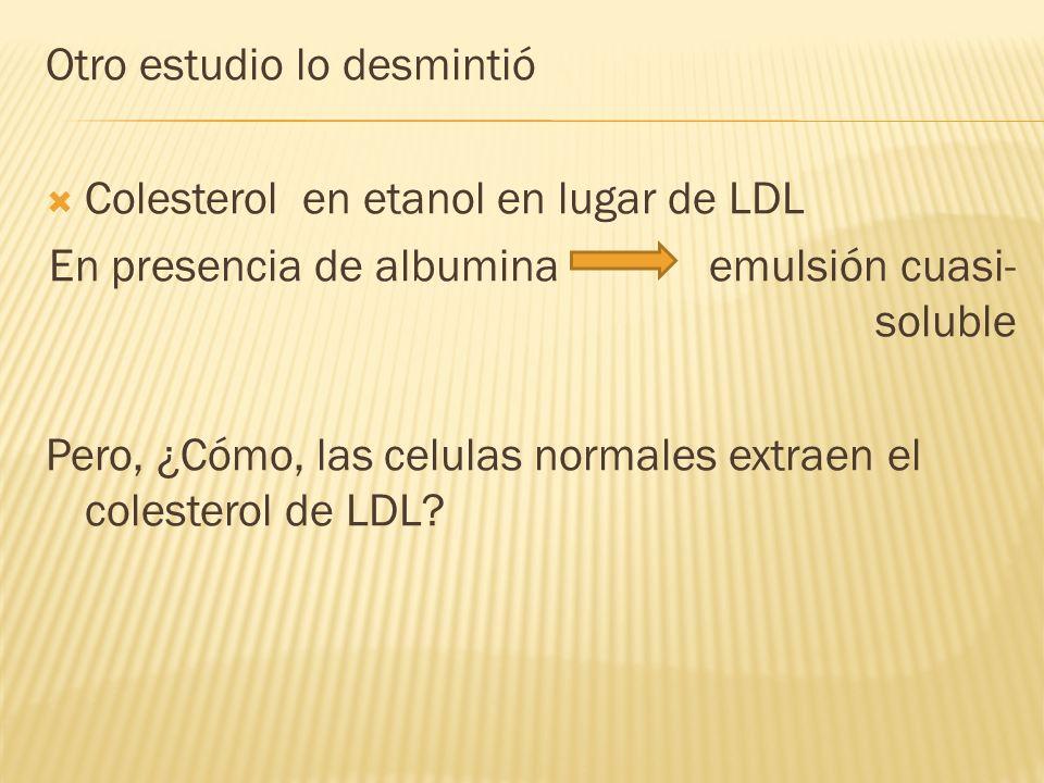 Otro estudio lo desmintió Colesterol en etanol en lugar de LDL En presencia de albumina emulsión cuasi- soluble Pero, ¿Cómo, las celulas normales extr
