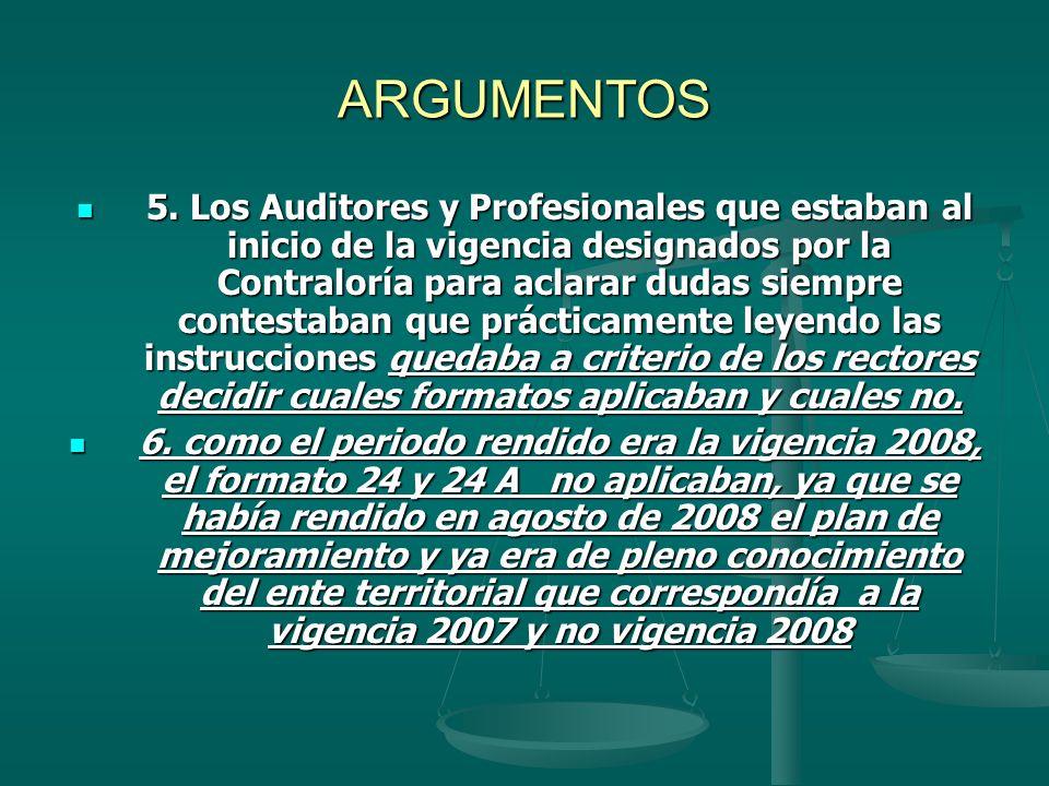 ARGUMENTOS 5. Los Auditores y Profesionales que estaban al inicio de la vigencia designados por la Contraloría para aclarar dudas siempre contestaban