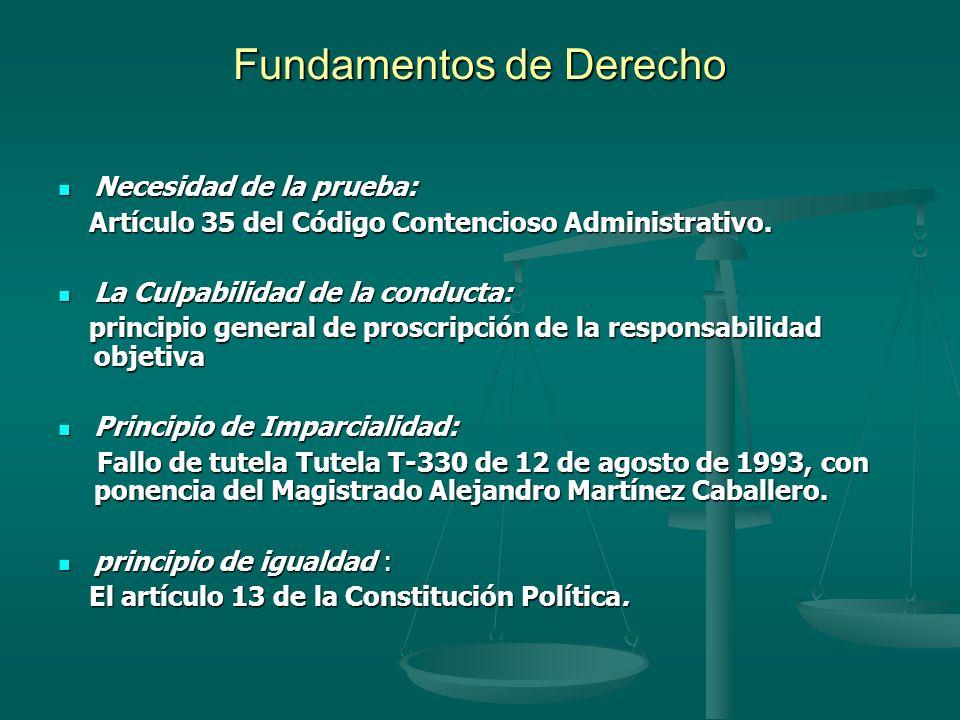 Fundamentos de Derecho Necesidad de la prueba: Necesidad de la prueba: Artículo 35 del Código Contencioso Administrativo. Artículo 35 del Código Conte