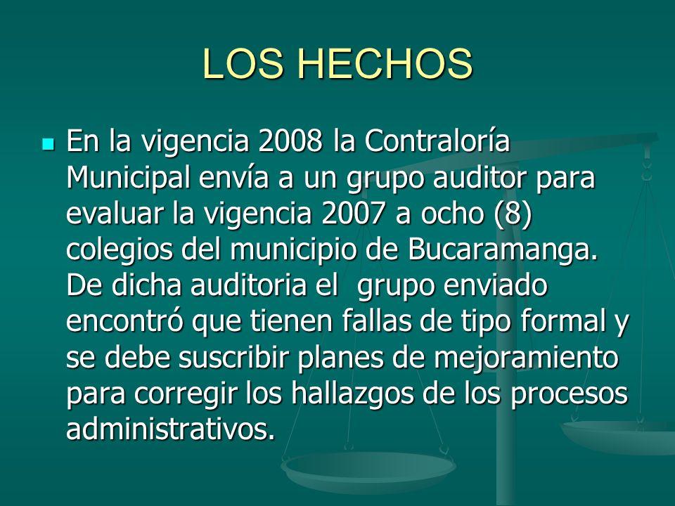 LOS HECHOS En la vigencia 2008 la Contraloría Municipal envía a un grupo auditor para evaluar la vigencia 2007 a ocho (8) colegios del municipio de Bu