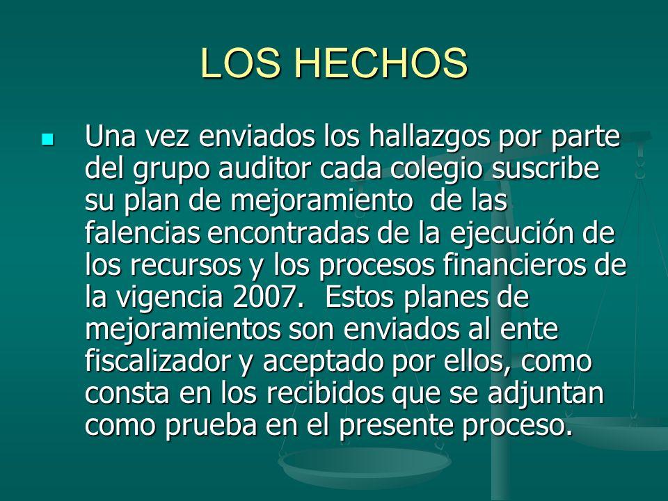 LOS HECHOS Una vez enviados los hallazgos por parte del grupo auditor cada colegio suscribe su plan de mejoramiento de las falencias encontradas de la