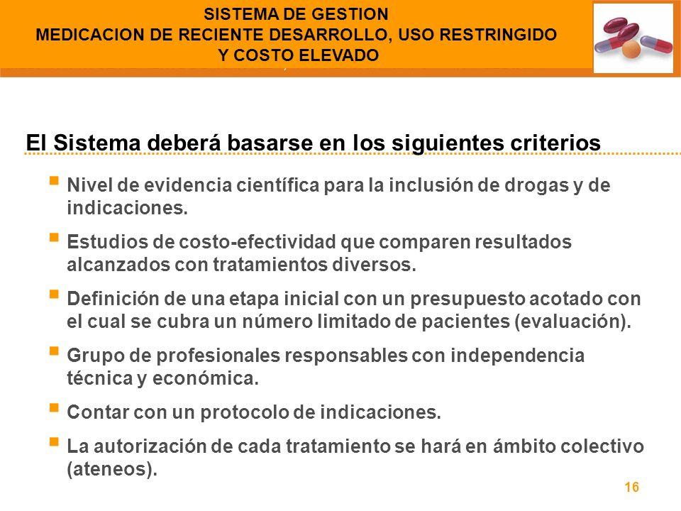 16 Nivel de evidencia científica para la inclusión de drogas y de indicaciones. Estudios de costo-efectividad que comparen resultados alcanzados con t