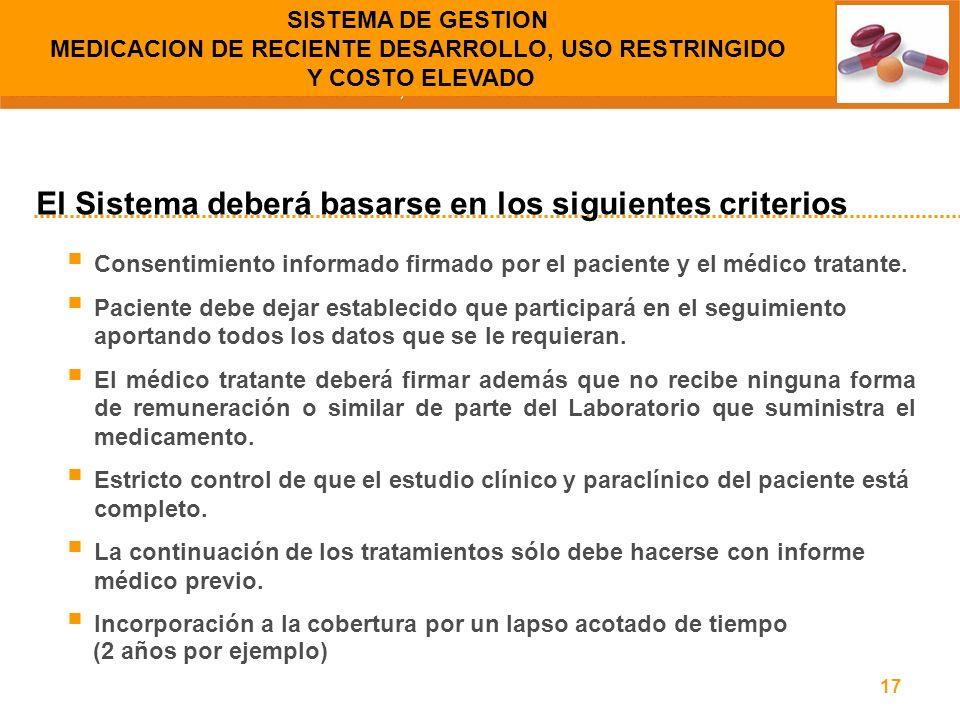 17 Consentimiento informado firmado por el paciente y el médico tratante. Paciente debe dejar establecido que participará en el seguimiento aportando