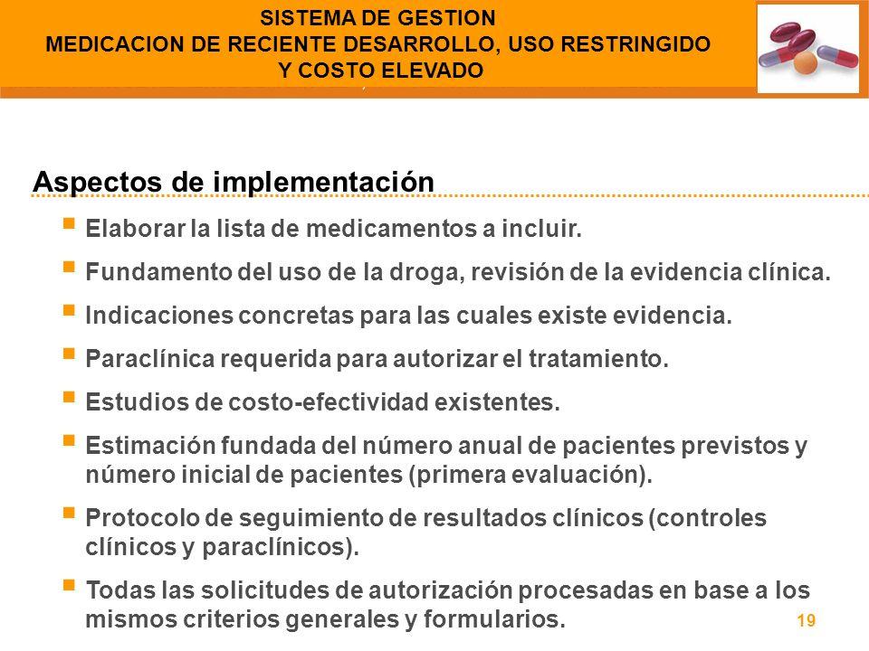 19 Elaborar la lista de medicamentos a incluir. Fundamento del uso de la droga, revisión de la evidencia clínica. Indicaciones concretas para las cual