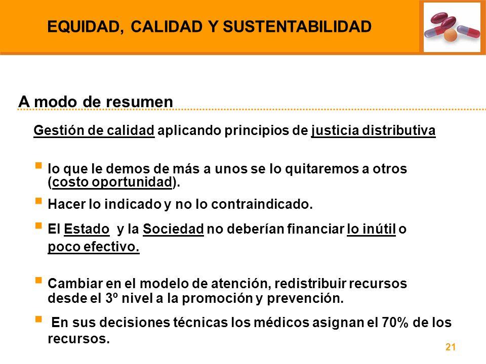 21 Gestión de calidad aplicando principios de justicia distributiva lo que le demos de más a unos se lo quitaremos a otros (costo oportunidad). Hacer