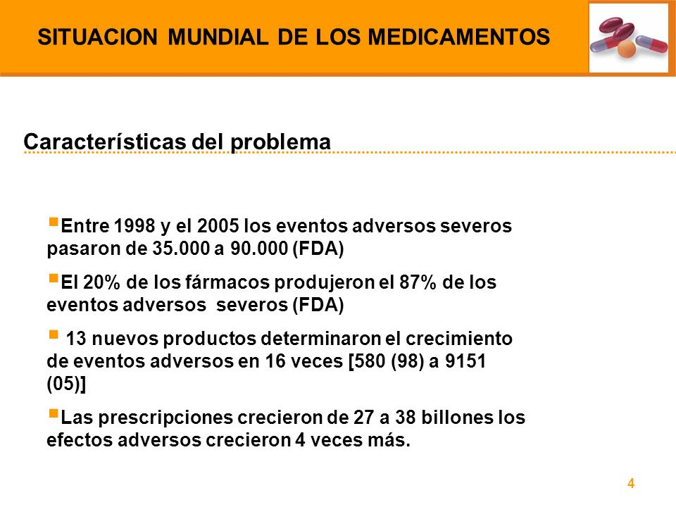 4 Entre 1998 y el 2005 los eventos adversos severos pasaron de 35.000 a 90.000 (FDA) El 20% de los fármacos produjeron el 87% de los eventos adversos