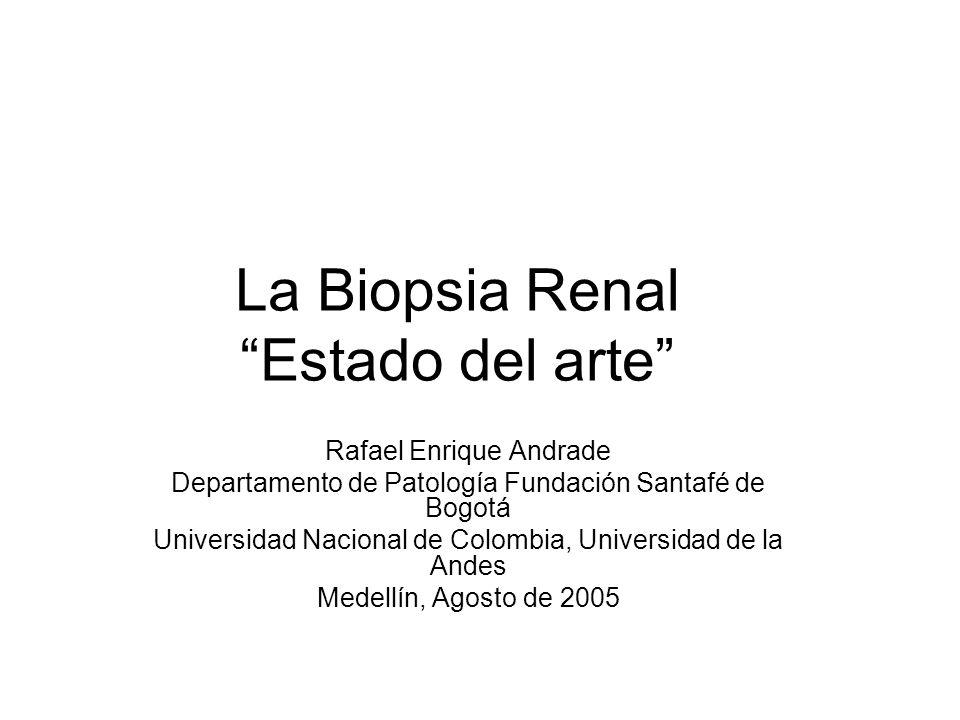 La Biopsia Renal Estado del arte Rafael Enrique Andrade Departamento de Patología Fundación Santafé de Bogotá Universidad Nacional de Colombia, Univer