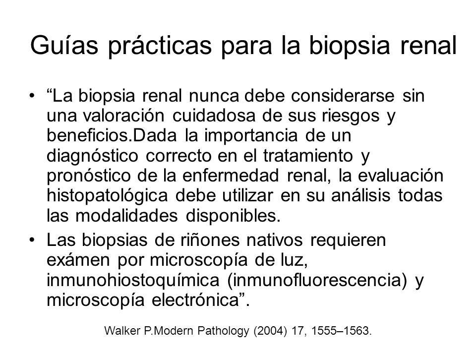 Guías prácticas para la biopsia renal La biopsia renal nunca debe considerarse sin una valoración cuidadosa de sus riesgos y beneficios.Dada la import