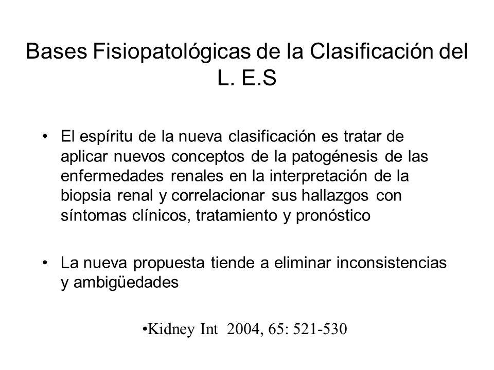 Bases Fisiopatológicas de la Clasificación del L. E.S El espíritu de la nueva clasificación es tratar de aplicar nuevos conceptos de la patogénesis de