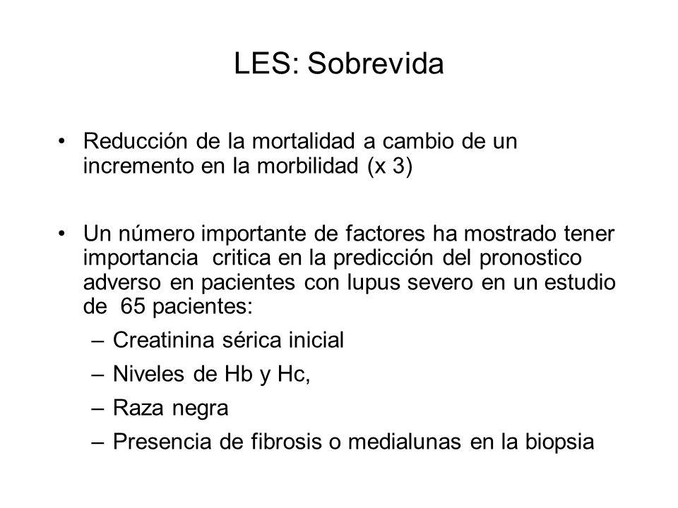 LES: Sobrevida Reducción de la mortalidad a cambio de un incremento en la morbilidad (x 3) Un número importante de factores ha mostrado tener importan