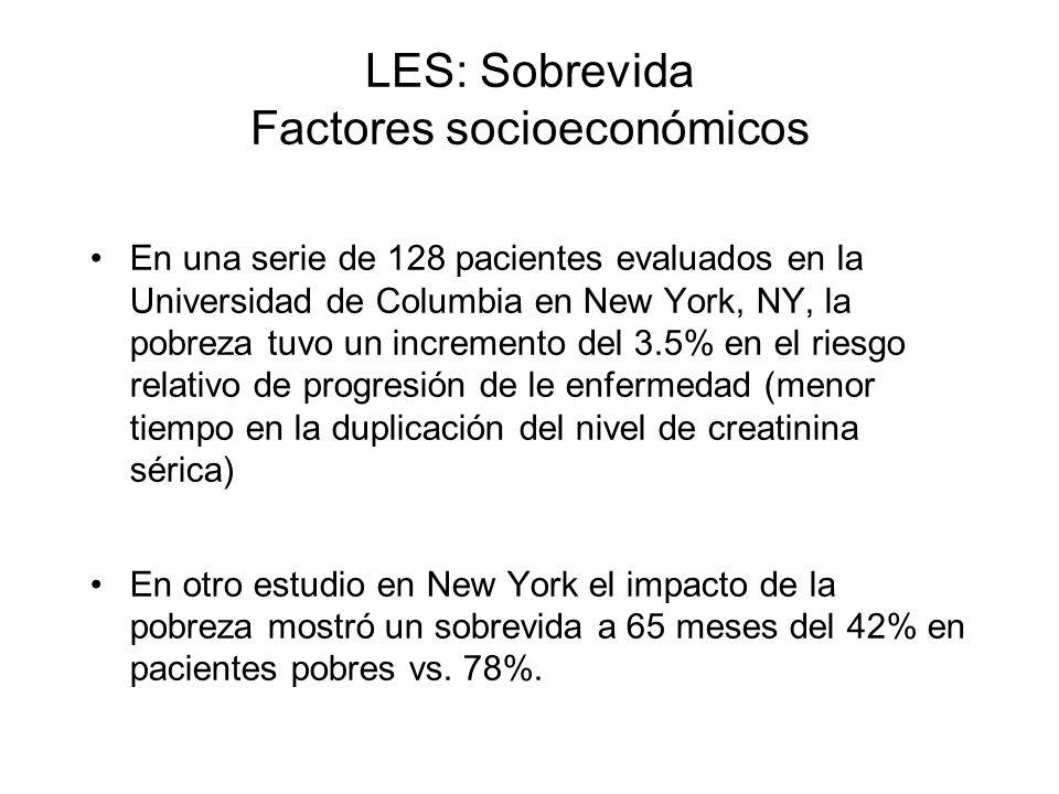 LES: Sobrevida Factores socioeconómicos En una serie de 128 pacientes evaluados en la Universidad de Columbia en New York, NY, la pobreza tuvo un incr