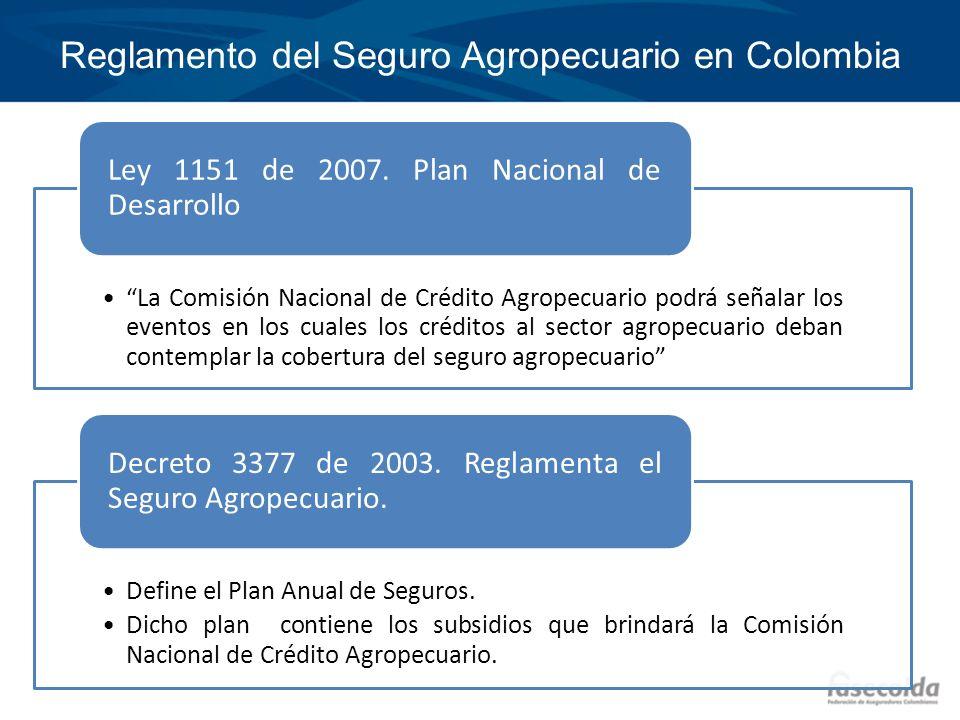 Reglamento del Seguro Agropecuario en Colombia La Comisión Nacional de Crédito Agropecuario podrá señalar los eventos en los cuales los créditos al se