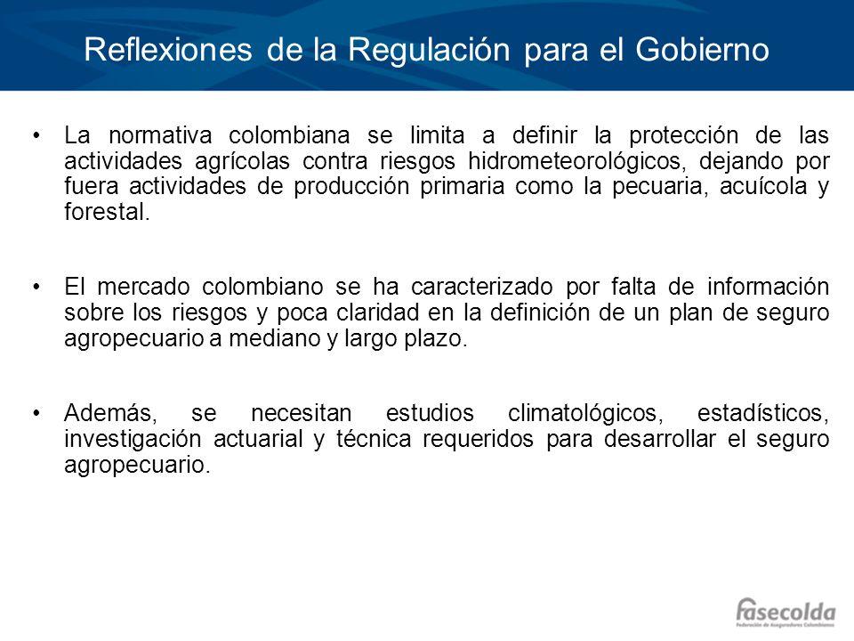 Reflexiones de la Regulación para el Gobierno La normativa colombiana se limita a definir la protección de las actividades agrícolas contra riesgos hi