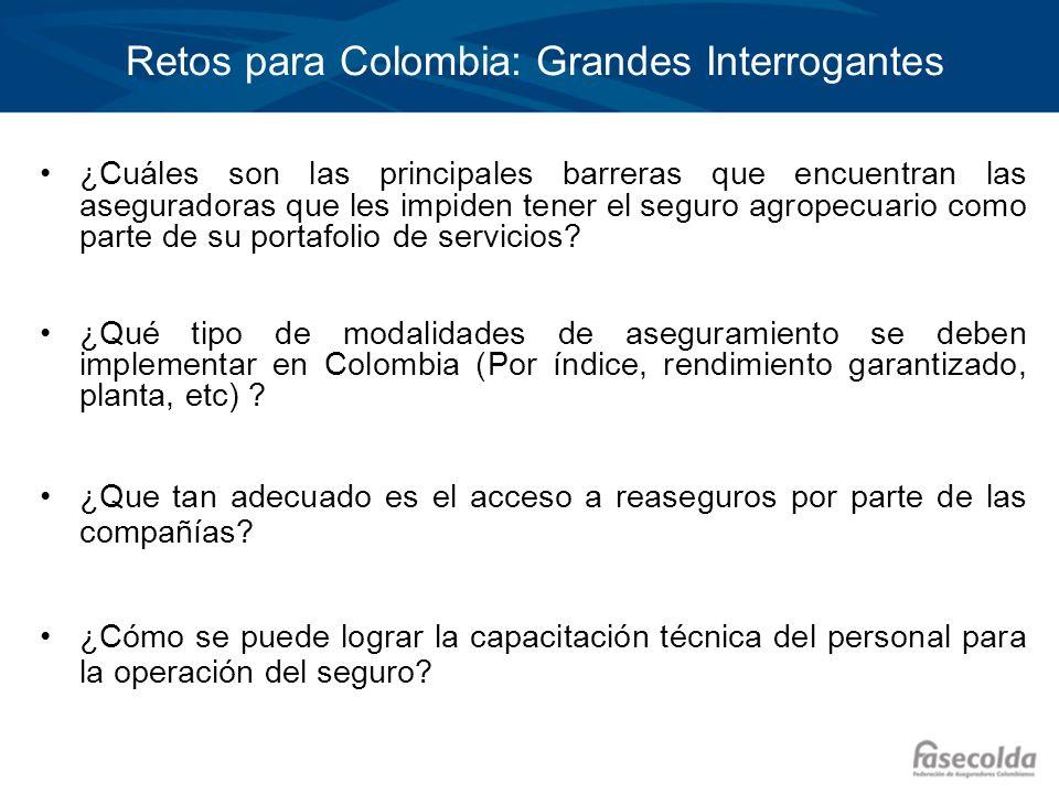 Retos para Colombia: Grandes Interrogantes ¿Cuáles son las principales barreras que encuentran las aseguradoras que les impiden tener el seguro agrope