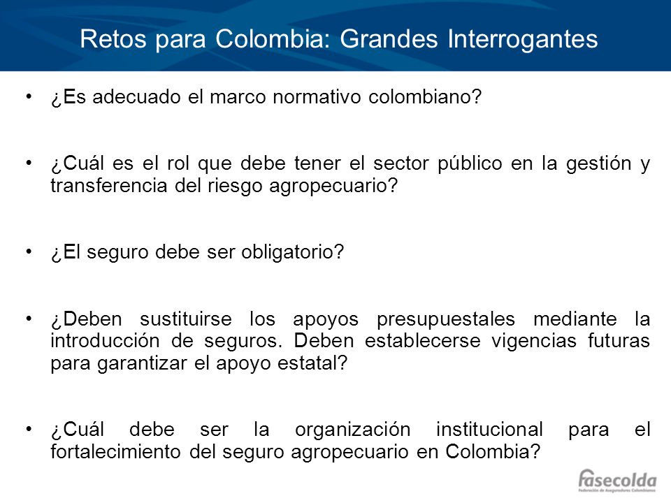 Retos para Colombia: Grandes Interrogantes ¿Es adecuado el marco normativo colombiano? ¿Cuál es el rol que debe tener el sector público en la gestión